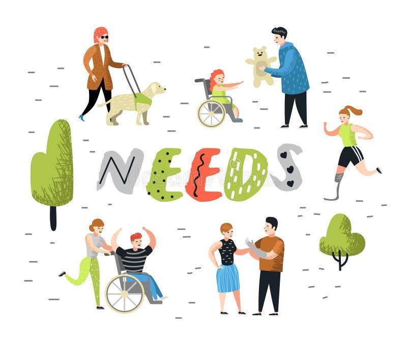 Caratteri piani della gente messi con i bisogni speciali Fumetti disabili, uomo e bambino in sedia a rotelle Persona di inabilità royalty illustrazione gratis