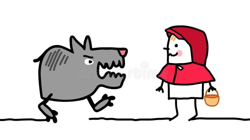 Caratteri - poco cappuccio di guida rosso illustrazione di stock
