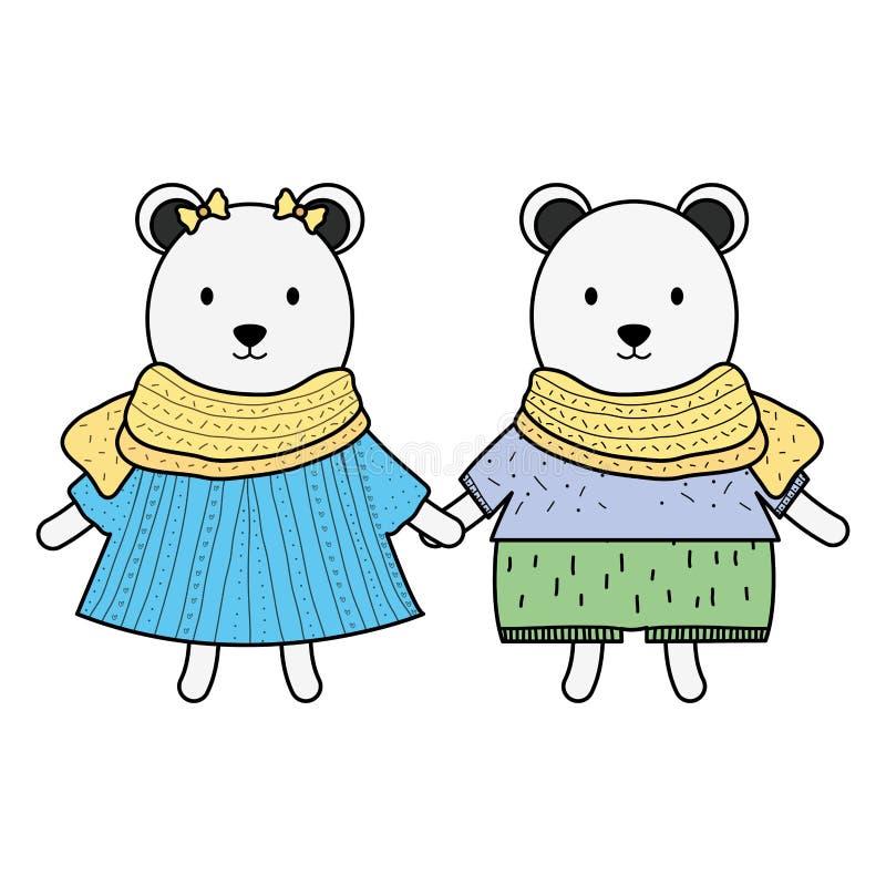 Caratteri puerili delle coppie sveglie degli orsi polari illustrazione di stock