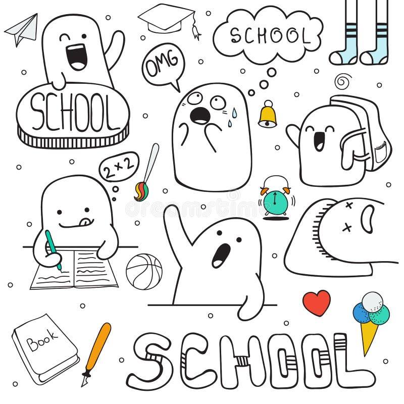 Caratteri stabiliti di scarabocchio ed attrezzature scolastiche Carattere di anime royalty illustrazione gratis