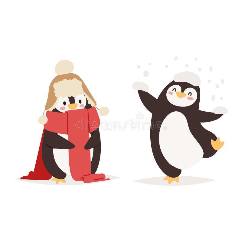 Caratteri stabiliti di vettore del pinguino illustrazione di stock