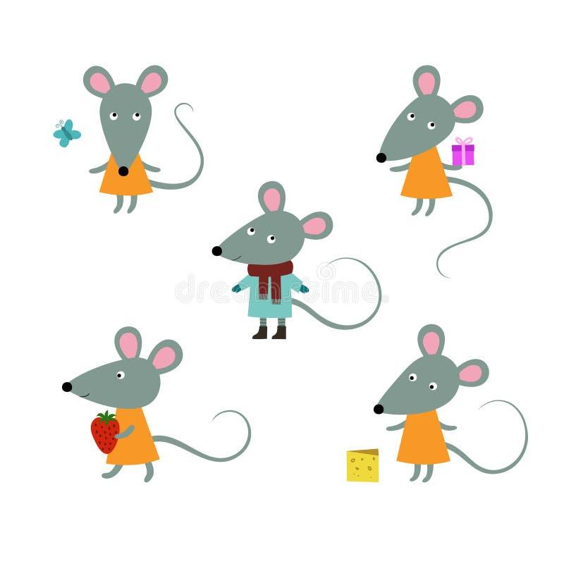 Caratteri svegli dei mouses su un fondo bianco Vettore illustrazione vettoriale