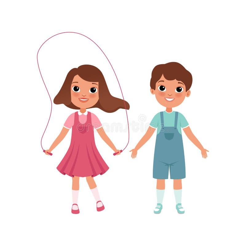 Caratteri svegli del ragazzo e della ragazza del bambino in età prescolare, studenti della scuola elementare, fase di crescere l' illustrazione vettoriale