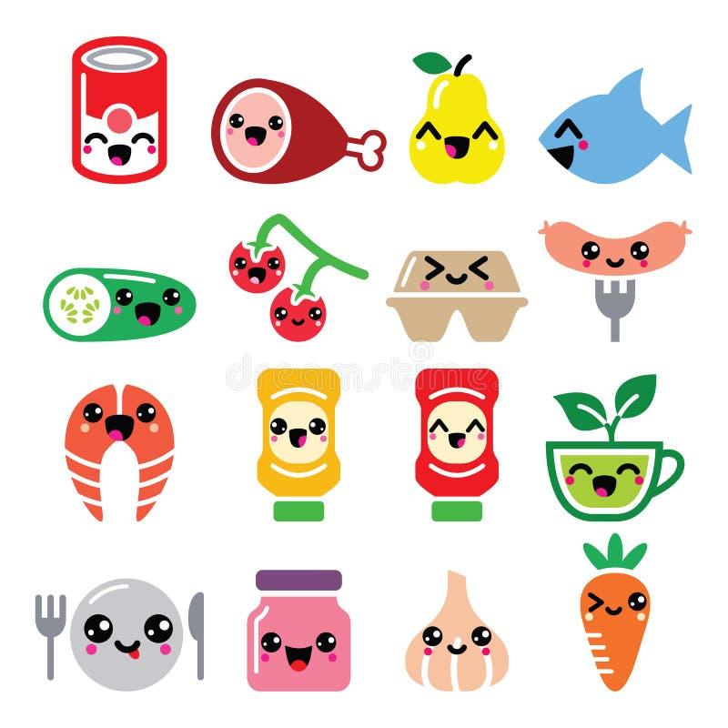 Caratteri svegli dell'alimento di Kawaii - carne, verdure, icone della frutta messe illustrazione vettoriale