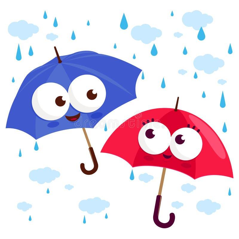 Caratteri svegli dell'ombrello nella pioggia Illustrazione di vettore illustrazione di stock