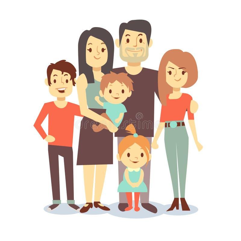 Caratteri svegli di vettore della famiglia del fumetto in abbigliamento casual illustrazione vettoriale
