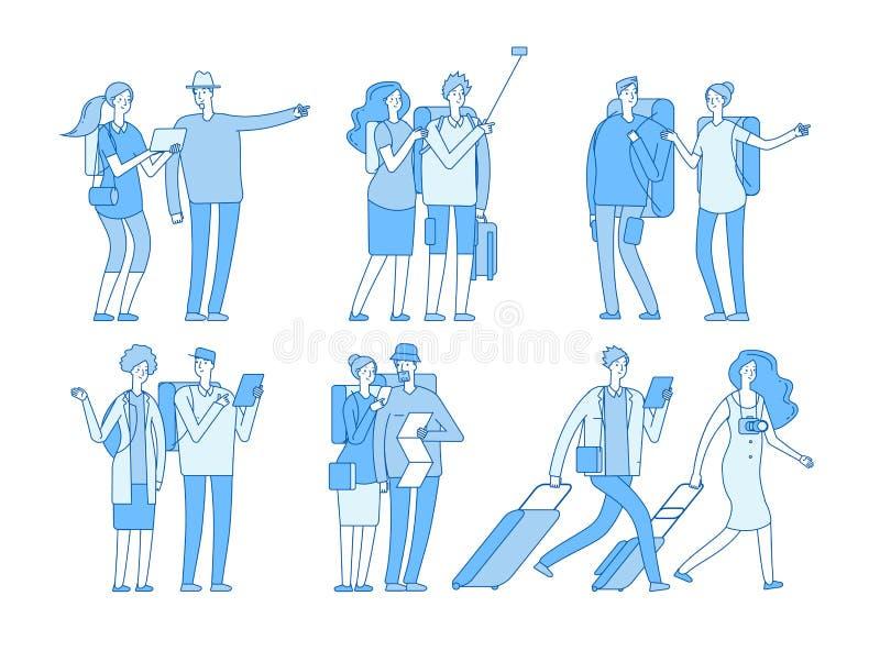 Caratteri turistici La gente con la festa delle borse delle valigie Famiglia europea di viaggio nelle coppie di viaggio di vacanz royalty illustrazione gratis