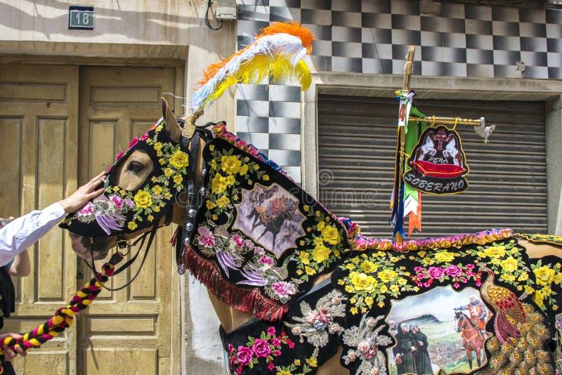 Caravaca de la Cruz, Spanien, am 2. Mai 2019: Pferd, das bei Caballos Del Vino vorgef?hrt wird lizenzfreies stockbild