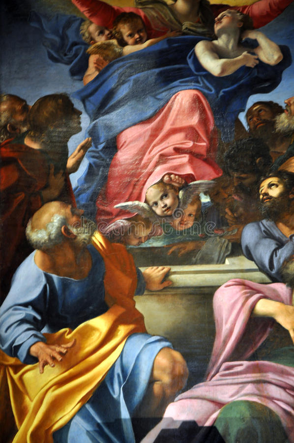 Caravaggio and Carracci paintings in Cerasi Chapel. Basilica of. ROME, ITALY - MARCH 14, 2016: The paintings in the Cerasi Chapel in Basilica of Santa Maria del stock photography