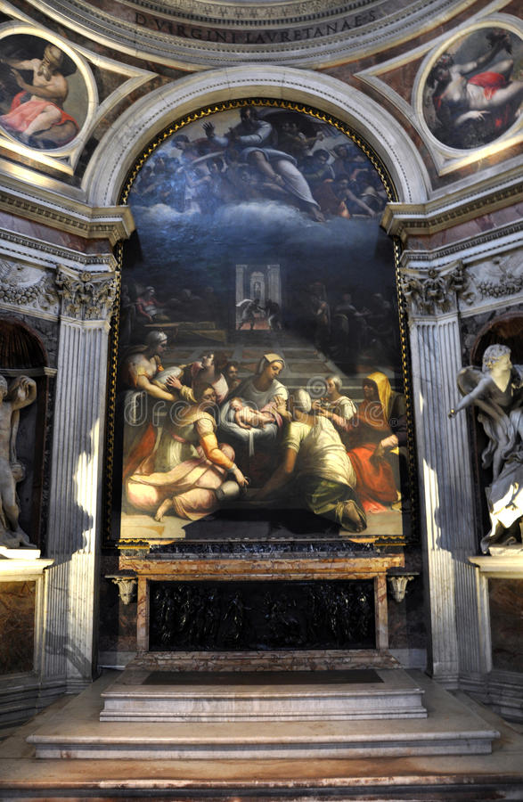 Caravaggio and Carracci paintings in Cerasi Chapel. Basilica of. ROME, ITALY - MARCH 14, 2016: The paintings in the Cerasi Chapel in Basilica of Santa Maria del royalty free stock image