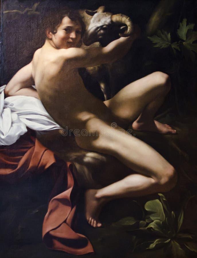 Caravaggio que pinta John The Baptist fotografia de stock