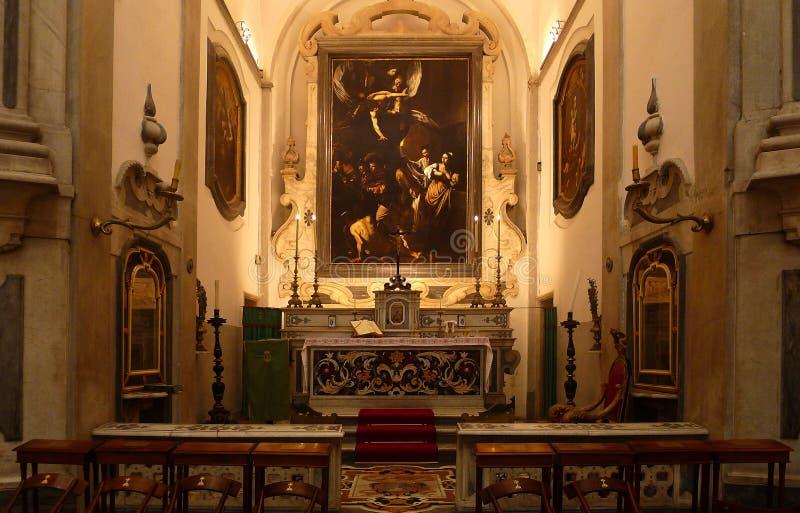 Caravaggio ` s Sette Opere Di Misericordia in Napels, Italië stock afbeelding
