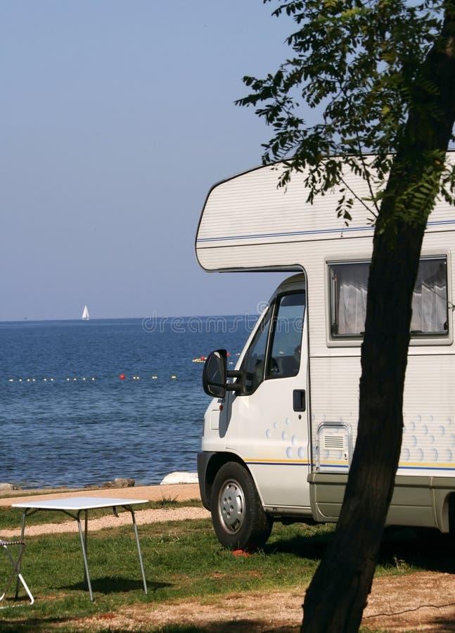 Caravan bij het kampeerterrein