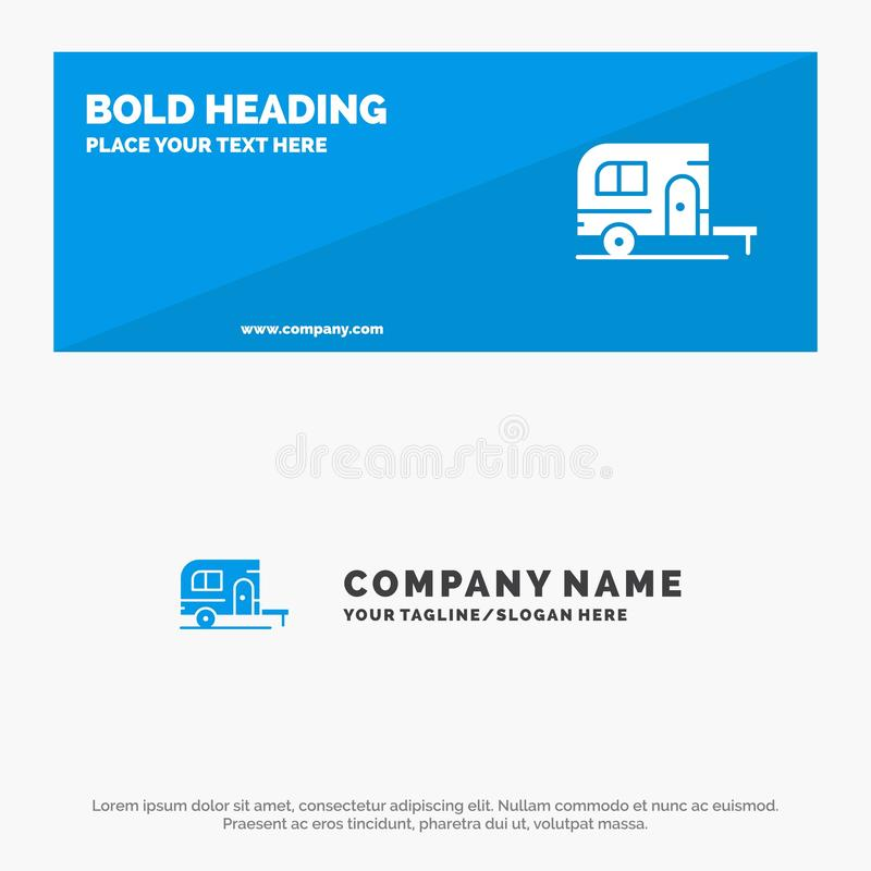 Caravan, Camping, Camp, Travel SOlid Icon Website Banner and Business Logo Template vector illustration