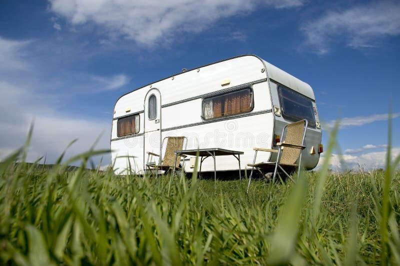 Caravan camping. At green place royalty free stock photos