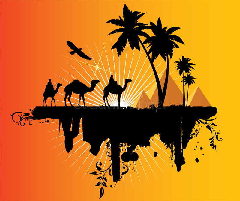 Caravan in de woestijn royalty-vrije illustratie