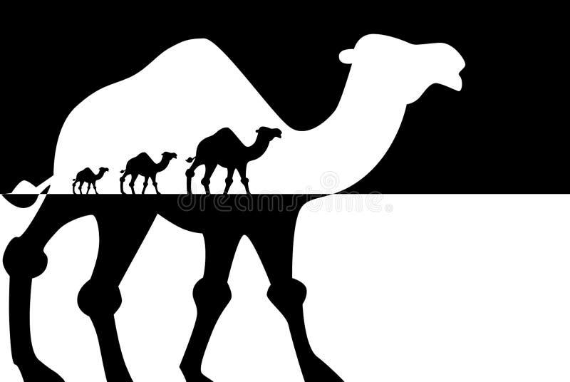 Caravan dei cammelli, concetto di viaggio royalty illustrazione gratis