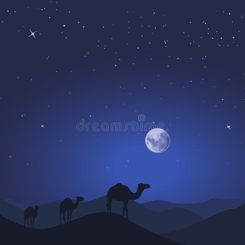 Caravan del cammello nel paesaggio selvaggio della natura della montagna del deserto Illustrazione di vettore illustrazione di stock