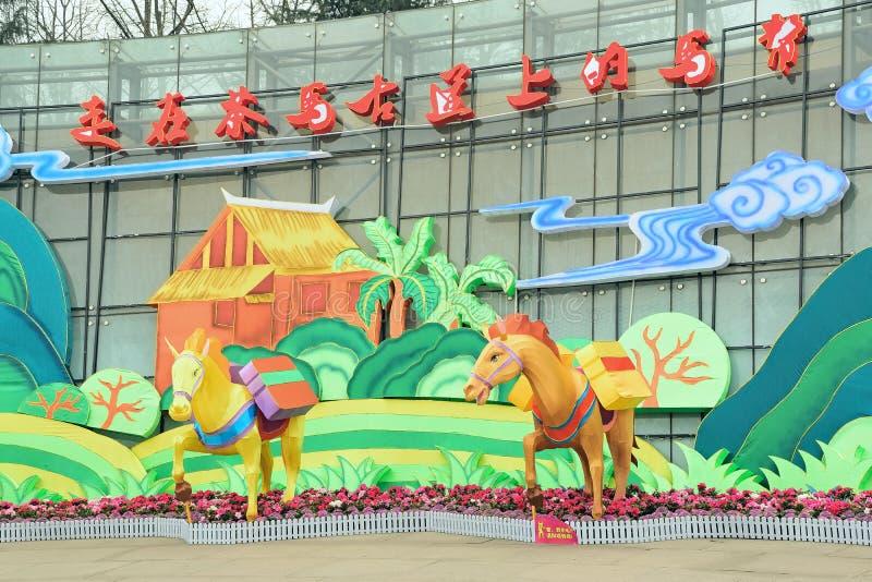 Caravan di Chengdu Cina- che cammina sulla strada antica del cavallo del tè fotografie stock libere da diritti