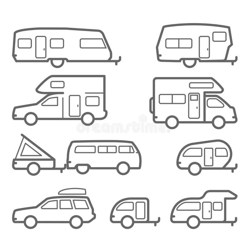 Caravan e rimorchi di campeggiatore - icone di viaggio stradale illustrazione di stock