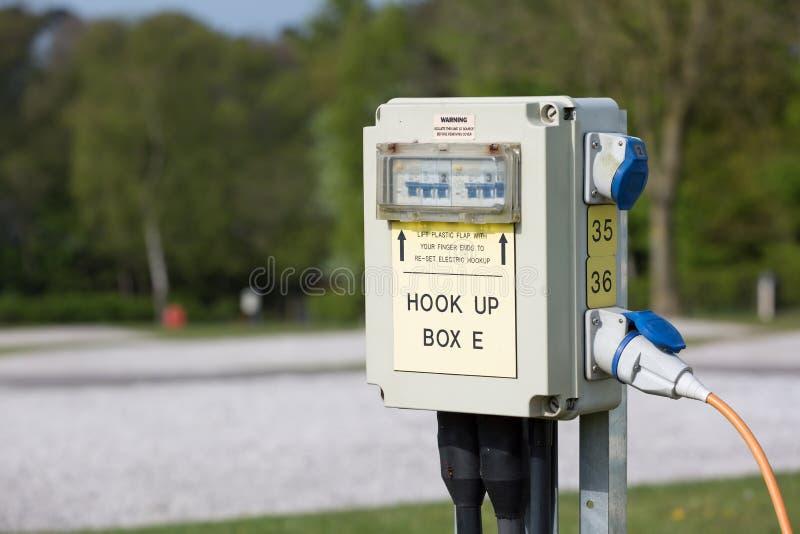 Caravan elektrische aansluiting royalty-vrije stock foto