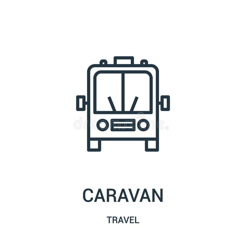 caravan icon vector from travel collection. Thin line caravan outline icon vector illustration. Linear symbol for use on web and vector illustration