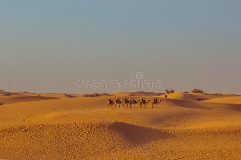 Caravan met toeristen onder de zandduinen van woestijn dichte omhooggaand Doubai 2019 stock fotografie