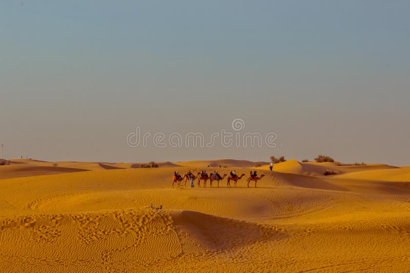 Caravan met toeristen onder de zandduinen van woestijn dichte omhooggaand Doubai 2019 stock afbeelding