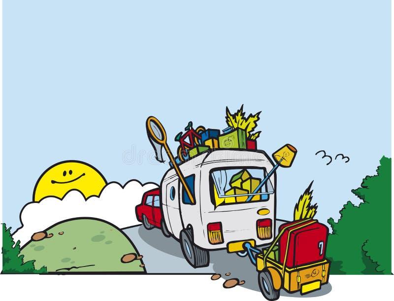 Caravan op een heuvel royalty-vrije stock foto