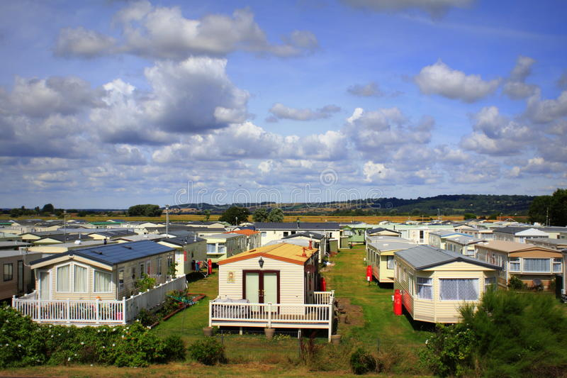 Caravan Park United Kingdom. Caravan Park in Dymchurch-British seaside resort on nice summer day Kent England UK royalty free stock photo