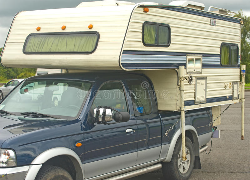 Caravan on a pickup truck. royalty free stock photography