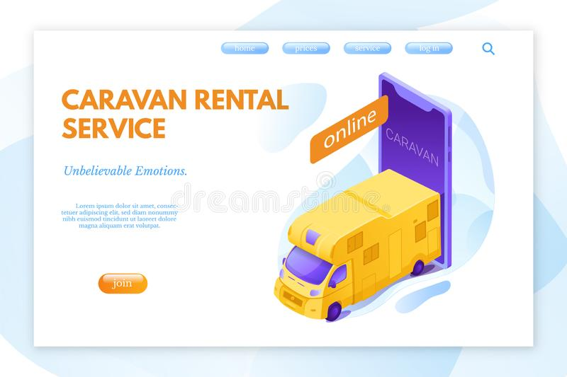 Caravan rental service vector landing page layout vector illustration