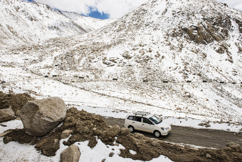 Caravan road trip at Chang La Pass third highest motorable road in the world Ladakh. LADAKH, INDIA - September ,2014 royalty free stock photos