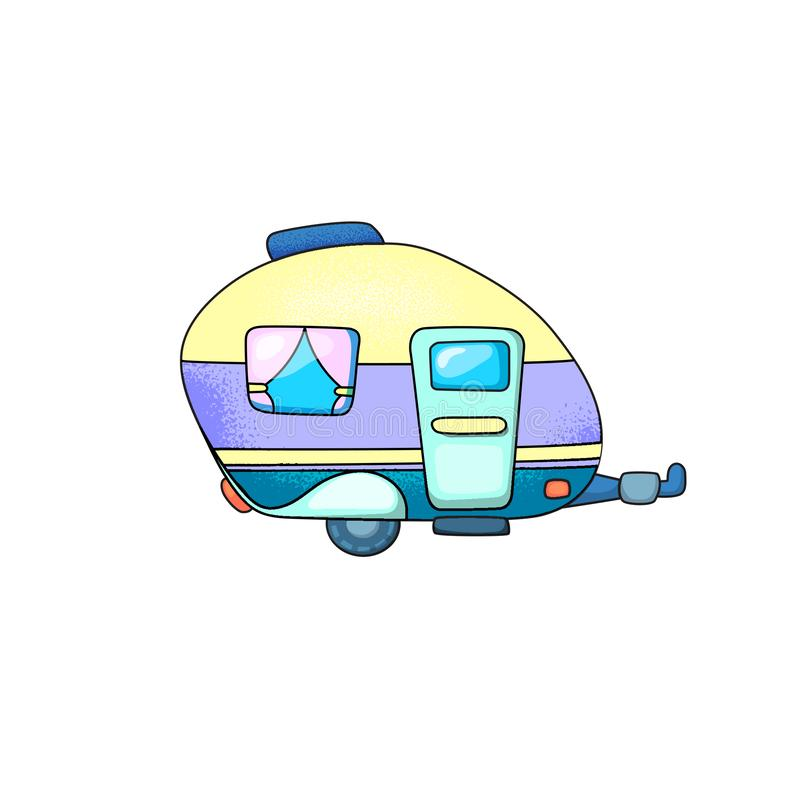 Caravan trailer with door and window. Travel vehicle vector illustration on white background. Camper or trailer isolated stock image