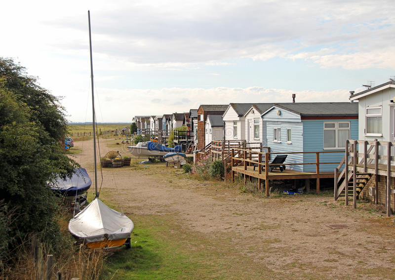 Caravan trailer park village. Photo of a caravan trailer park village in kent with boats royalty free stock images