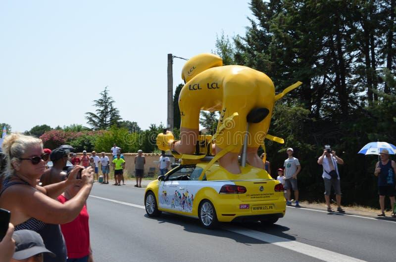 Caravan van de Ronde van Frankrijk stock afbeeldingen