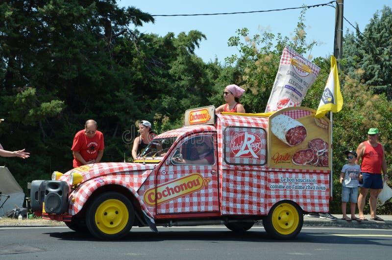 Caravan van de Ronde van Frankrijk stock foto
