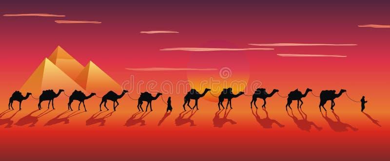 Caravan van kamelen in de woestijn vector illustratie