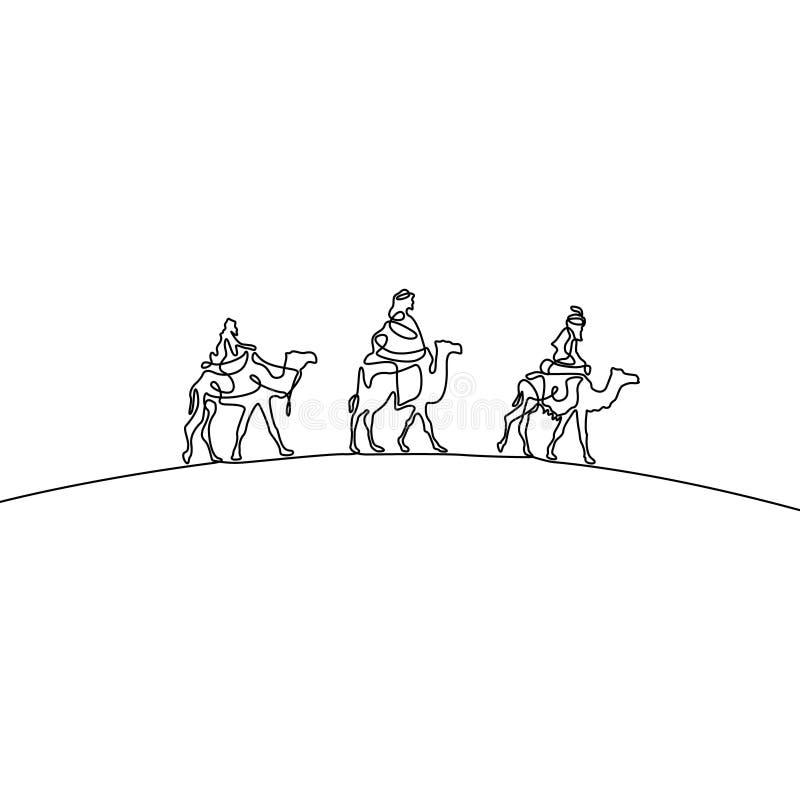 Caravan van kamelen in de woestijn Drie kamelen Nieuw Islamitisch jaar Ononderbroken lijntekening Vector illustratie stock illustratie