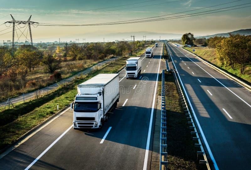 Caravan van witte vrachtwagens op weg stock afbeelding
