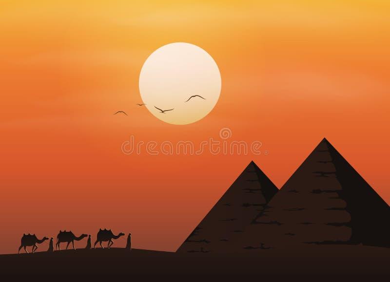 Caravana con los camellos en desierto con las pirámides en fondo hermoso de la puesta del sol stock de ilustración