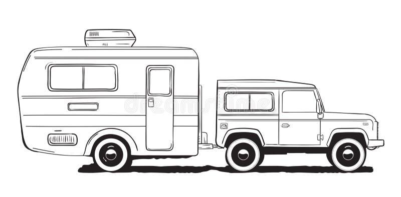 Caravana de acampamento Motorhome, carro do amper com reboque Mão preto e branco ilustração tirada ilustração do vetor