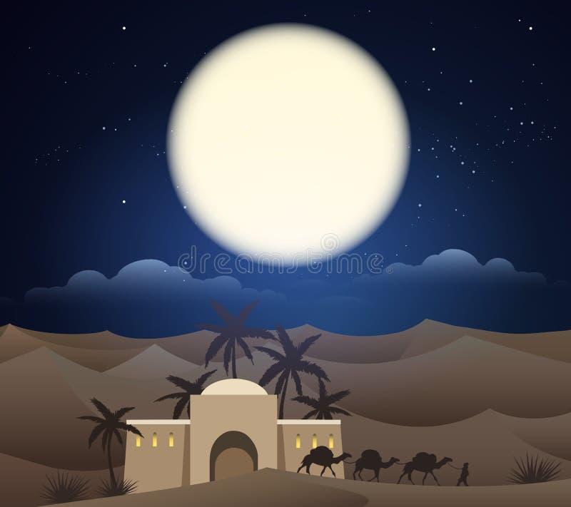 Caravana de camellos en Sáhara stock de ilustración