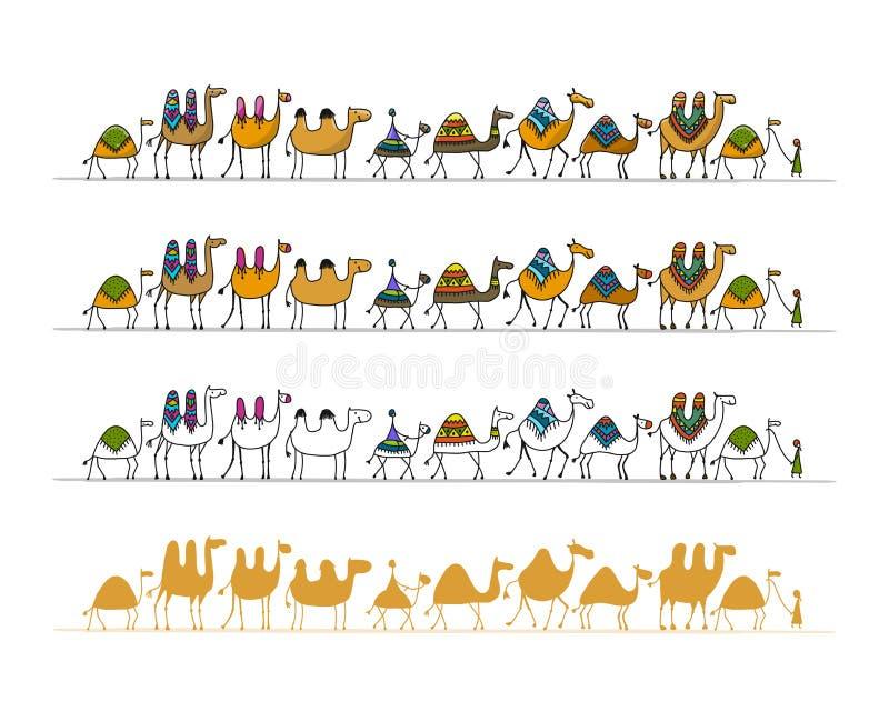 Caravana de los camellos, bosquejo para su diseño libre illustration