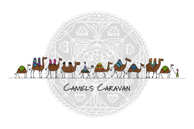 Caravana de los camellos, bosquejo para su diseño ilustración del vector