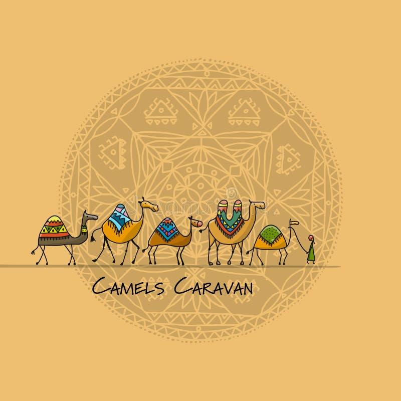 Caravana de los camellos, bosquejo para su diseño stock de ilustración