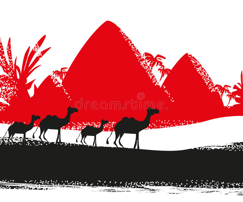 Caravana del camello en África salvaje libre illustration
