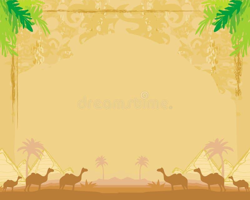 Caravana del camello en África salvaje - marco abstracto del grunge ilustración del vector