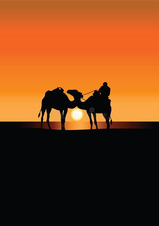Caravana del camello en Sáhara en la puesta del sol libre illustration