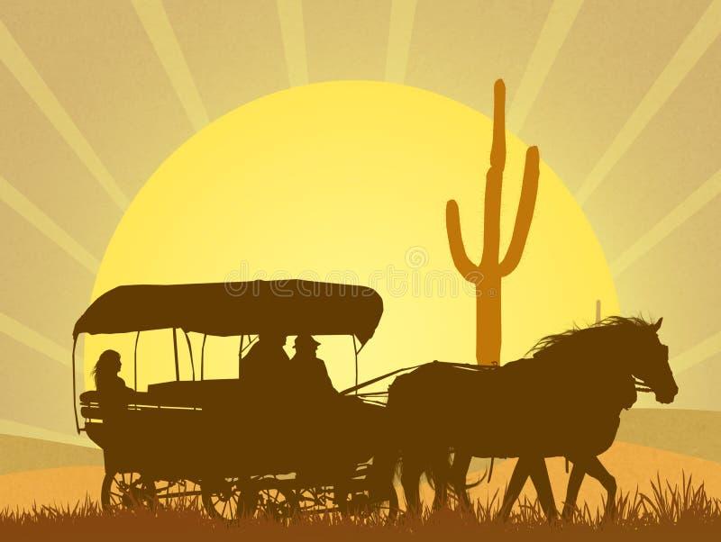 Caravana del oeste salvaje en el desierto ilustración del vector